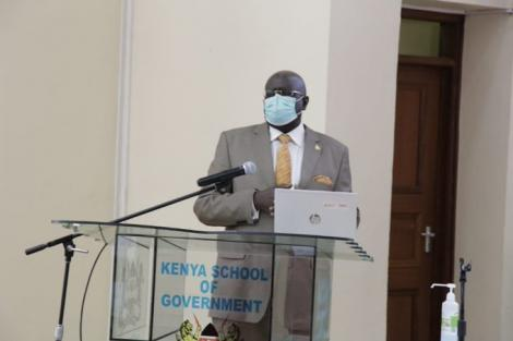 Education CS George Magoha addresses university Vice-Chancellors during a stakeholders' meeting at the Kenya School of Government in Nairobi on August 12, 2020