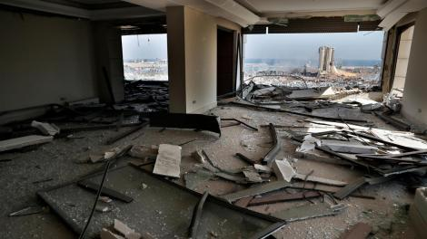 A building in Beirut, Lebanon pictured after the blast on August 4, 2020