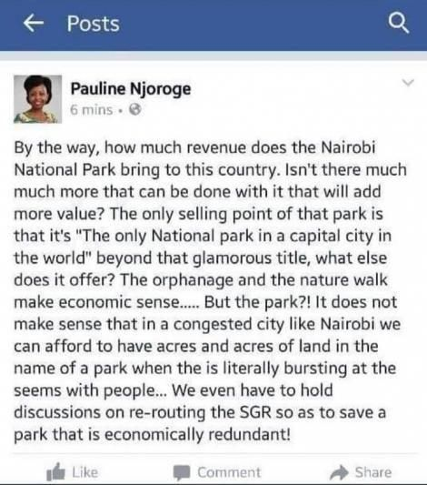 A screenshot of a past post by newly-appointed Tourism Regulatory Authority Board Member Pauline Njoroge