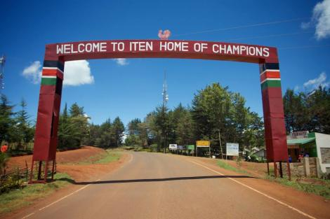 A road signage highlighting Iten area in the vast Kerio Valley.