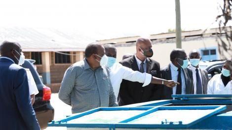 President Uhuru Kenyatta, Nairobi Senator Johnson Sakaja and General Mohamed Badi tour Nairobi Metropolitan Services's projects in Nairobi's informal settlements on Tuesday, June 30, 2020