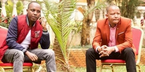 Actors Abel Mutua and Dennis Mugo on set shooting a YouTube episode