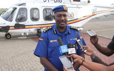 Inspector General of Police Hillary Nzioka Mutyambai address press after boarding a new 5Y-DIG helicopter at Wilson airport on May 3, 2019.