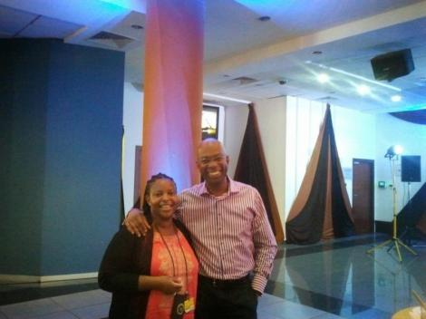 World Wide Web Foundation's Director of Research Catherine Adeya (left) with the late former Safaricom CEO Bob Collymore.