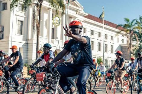 File image of cyclists in Nairobi