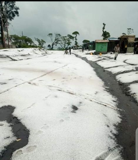 A snow covered road in Narok. September 2020.