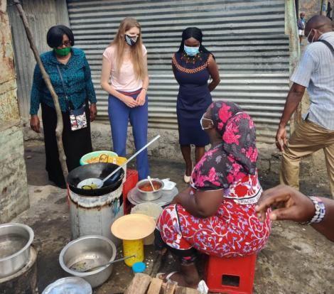 UK High Commissioner to Kenya Jane Marriot during a tour of Tudor Muoroto slums on September 8, 2020