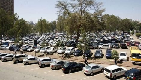 A parking lot in Nairobi.