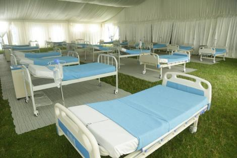 Some of the beds placed within the Covid-19 emergency treatment tent at the Machakos Stadium, April 20, 2020