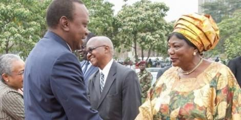 President Uhuru Kenyatta (left) greets his mother Mama Ngina Kenyatta