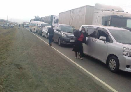A section of the stranded motorists after cattle were hit by a lorry along the Mai Mahiu- Narok road on September 25, 2020.