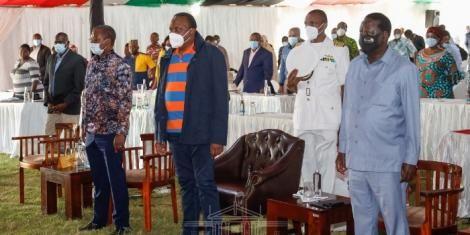 President Uhuru Kenyatta and ODM leader Raila Odinga with MPs at a BBI retreat in Naivasha on November 2, 2020