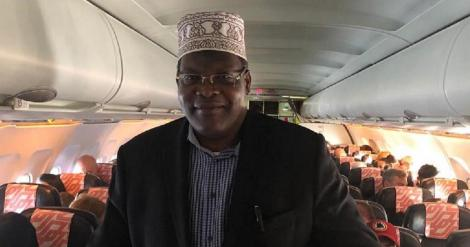 Embattled Lawyer Miguna Miguna aboard a plane in Germany on January 7, 2020, that was bound to Nairobi
