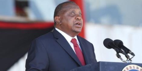 President Uhuru Kenyatta speaking during the Jamhuri Day celebrations at Nyayo Stadium on December 12, 2020