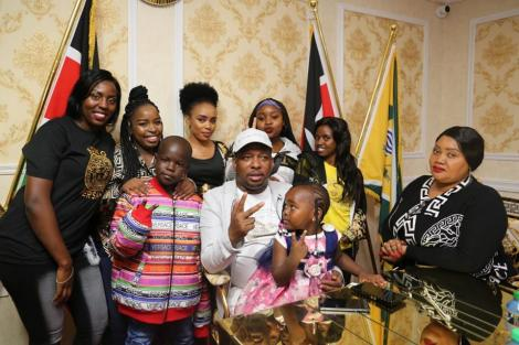 Nairobi Governor Mike Sonko and his family strike a pose during his birthday party on March 4, 2020.