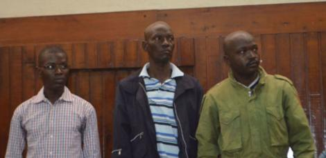 From Stephen Okoth, Joseph Ogolla and John Ochieng at the Mombasa High Court, during the hearing over the murder of Jacobus Van Der Goes in 2018.