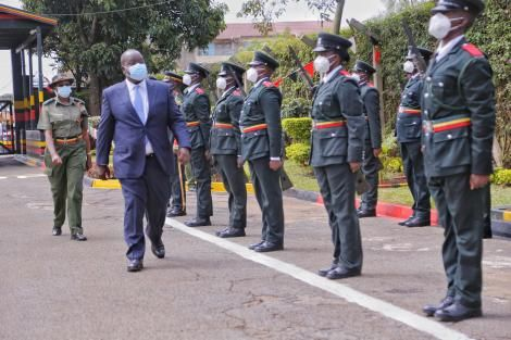 Interior CS Fred Matiang'i inspects a parade during the official opening of 161 cadet officers' training in Ruiru on Thursday, December 10, 2020.
