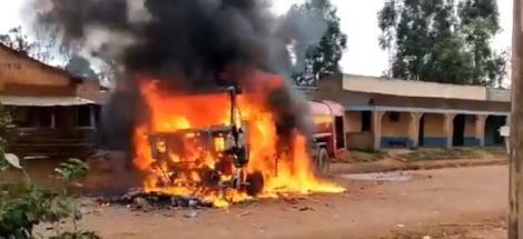 A firetruck on fire in Kakamega on August 15, 2020.