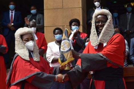 Acting Chief Justice Philomena Mwilu and outgoing Chief Justice David Maraga at the Supreme Court on January 11, 2021.