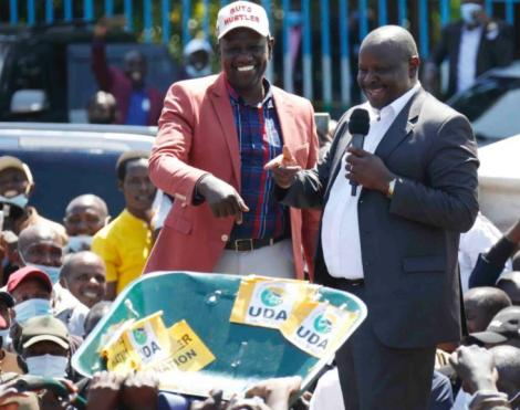 DP William Ruto (left) and former Bomet Governor Isaac Ruto in Bomet on January 15, 2021.