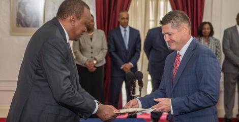 US Ambassador to Kenya Kyle McCarter with President Uhuru Kenyatta.