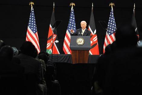 US President-elect Joe Biden addressing a public forum at the Kenyatta International Conference Center (KICC) in Nairobi on June 9, 2010.