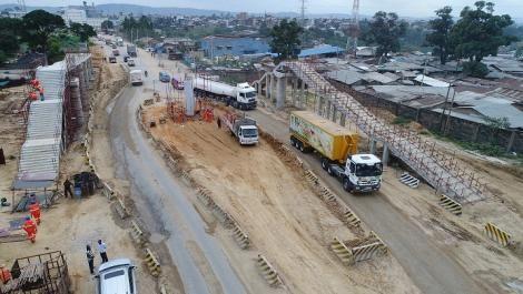 Ongoing construction along the Mombasa, Mariakani road.