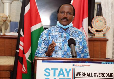 Wiper leader Kalonzo Musyoka speaks from his offices in Nairobi on April 15, 2020.