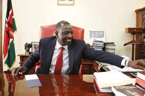 Deputy President WIlliam Ruto at his Karen residence's office in Nairobi