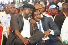ODM leader Raila Odinga and Wiper leader Kalonzo Musyoka during a meeting in April 2018