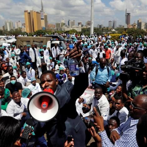 Health workers stage a peaceful protest