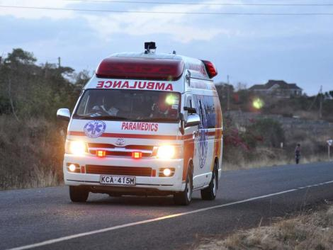 An ambulance headed to deliver emergency services.