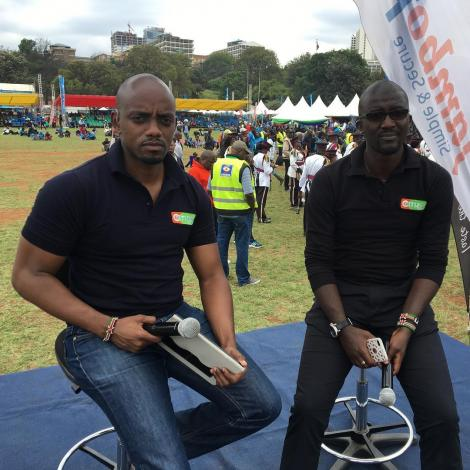 Media personalities Bernard Ndong' and Mike Okinyi attending a sports function in October 28, 2018