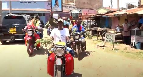Residents holding protests over the murder of Daniel Mwangi in Mweiga on February 15, 2021.