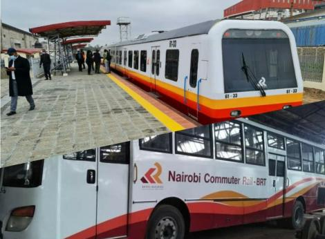 A montage showing the new Nairobi commuter train and the Bus Rapid Transport vehicles.