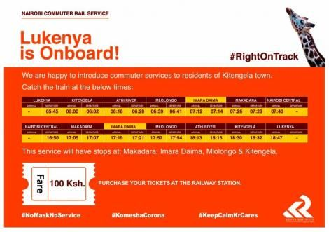 The schedule of the new Nairobi Commuter Rail Services service to Lukenya Railway station.