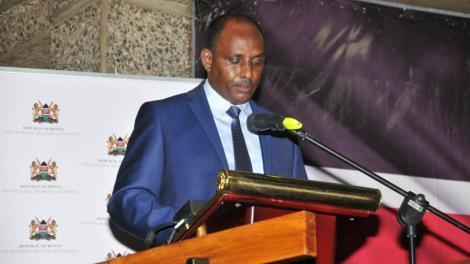 Treasury CS Ukur Yatani addresses the media on November 25, 2020, in Nairobi