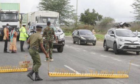 A road block in Nairobi