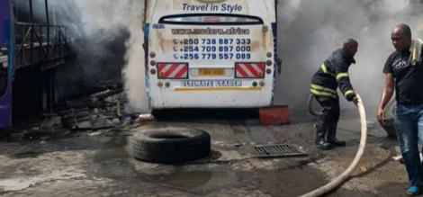 Fire razes down a section of Modern Coast yard next to Makupa Police Station in Mombasa on April 17, 2021.