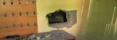 A hole dug by thieves in order to break into businesses in Busia County and steal valuables on Saturday night, April 17