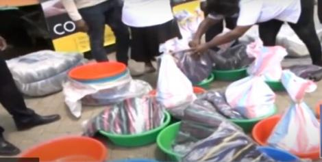 File image of some of the goods issued to Nairobi residents at Komarock Ward in Embakasi Central Sub-couty on Saturday April 17, 2021
