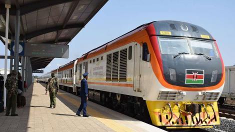 Police officers at a Kenya Railways terminal