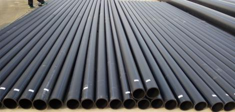 HDPE Plastic pipes pictured at a factory Kenya.