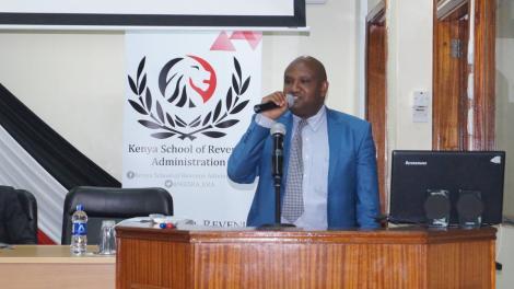 KRA Boss James Githii Mburu gives an address during a past event