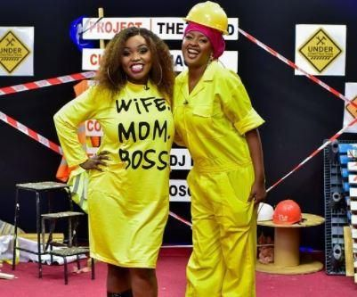 NTV presenter Fridah Mwaka (left) and NTV presenter Amina Abdi (right) on April 30, 2021.