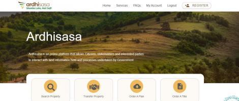 A screenshot of the Ardhisasa website.