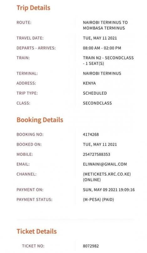 An image of the ticket shared on social media by Mwangi's daughter on Wednesday, May 12.