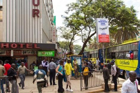 Kenyans walking on busy Nairobi streets