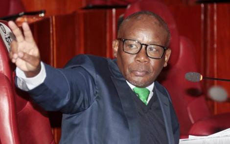 Former Attorney- General Prof. Githu Muigai when he appeared before the Senate Ad-Hoc Committee on the Medical Equipment Services at Parliament on Friday, February 21, 2020,