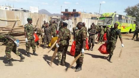 KDF 78 Battalion engage in a cleaning exercise in Isiolo Town